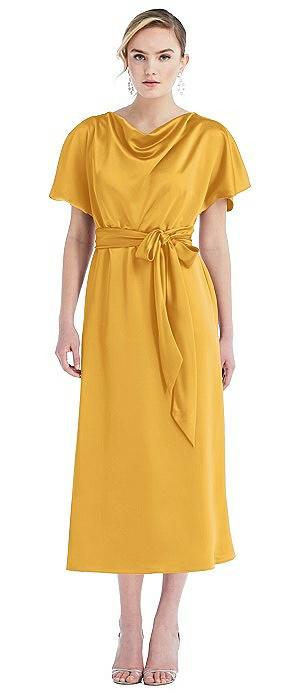 Cowl-Neck Kimono Sleeve Midi Dress with Bowed Sash