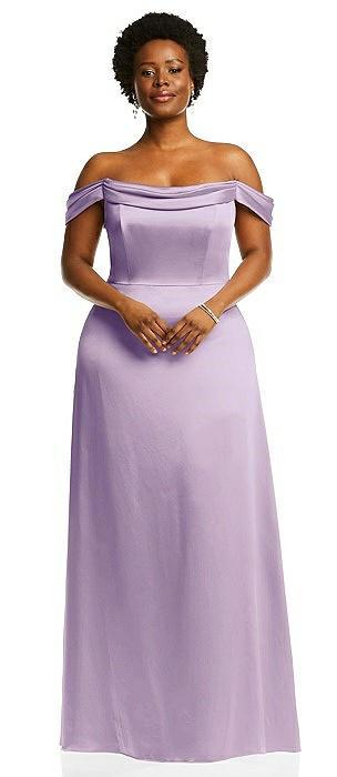 Draped Pleat Off-the-Shoulder Maxi Dress