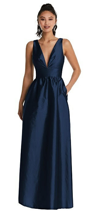 Plunging Neckline Maxi Dress with Pockets