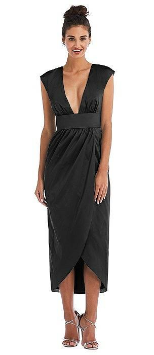 Open-Neck Tulip Skirt Maxi Dress