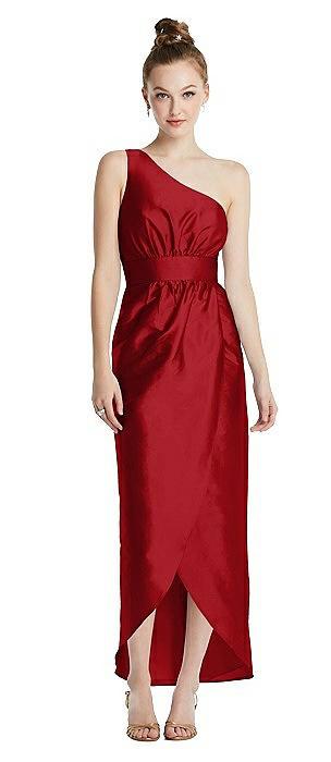 One-Shoulder Shirred Tulip Skirt Midi Dress