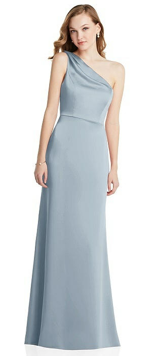 Shirred One-Shoulder Satin Trumpet Dress - Maddie