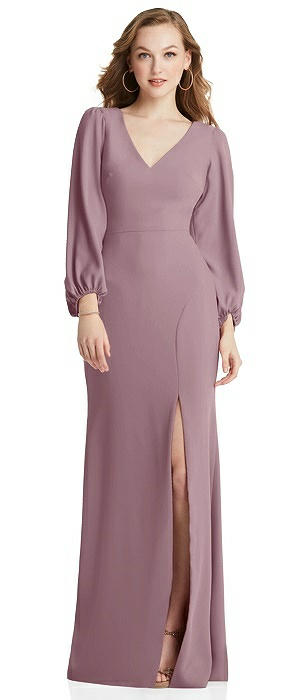 Long Puff Sleeve V-Neck Trumpet Gown