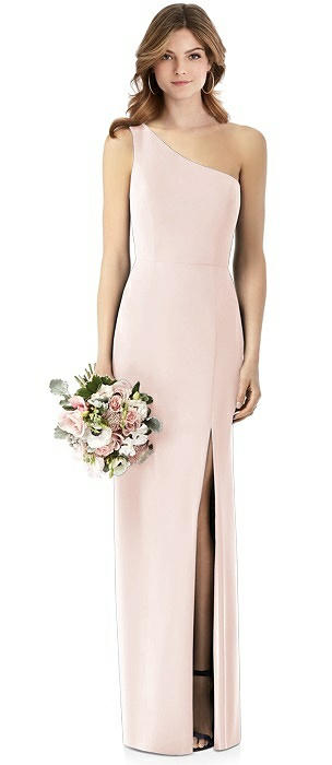 One-Shoulder Crepe Trumpet Gown with Front Slit