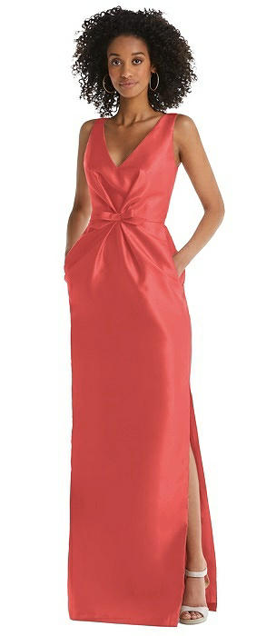 Pleated Bodice Satin Maxi Pencil Dress with Bow Detail