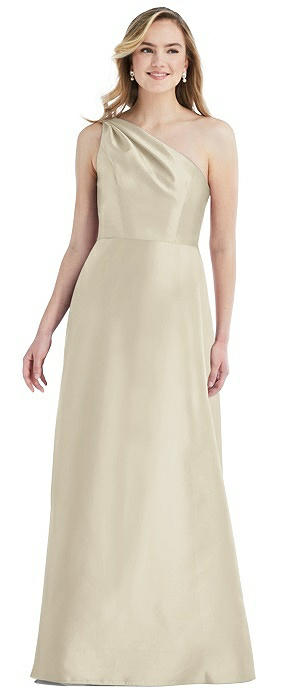 Pleated Draped One-Shoulder Satin Maxi Dress with Pockets