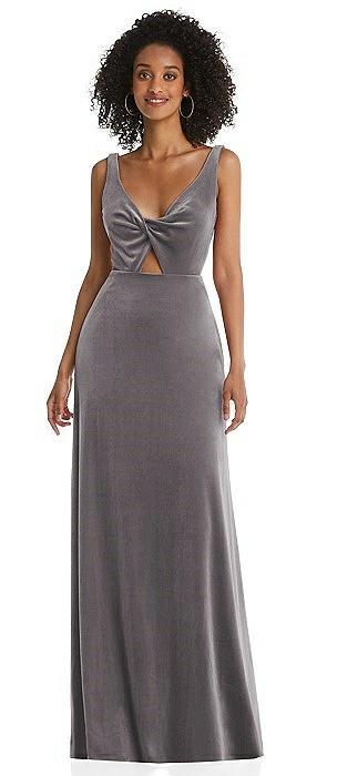 Twist Front Cutout Velvet Maxi Dress - Cameron