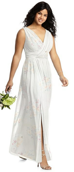 Sleeveless Draped Chiffon Maxi Dress with Front Slit
