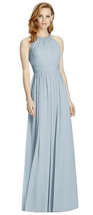 Cutout Open-Back Shirred Halter Maxi Dress