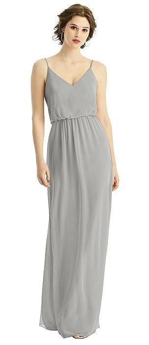 V-Neck Blouson Bodice Chiffon Maxi Dress
