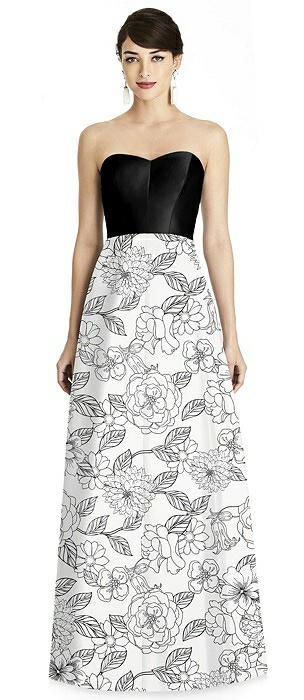 Seamed Bodice Floral Skirt A-Line Dress with Pockets