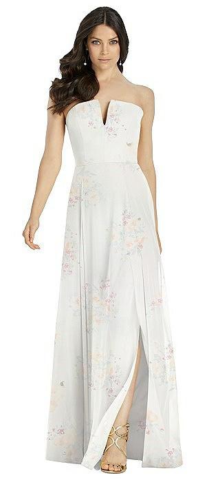 Strapless Notch Chiffon Maxi Dress
