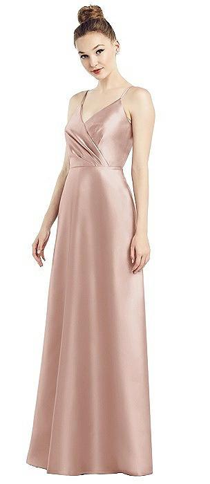 Draped Wrap Satin Maxi Dress with Pockets