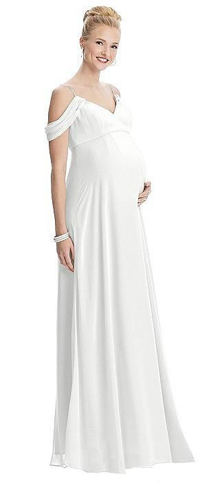 Draped Cold-Shoulder Chiffon Maternity Dress