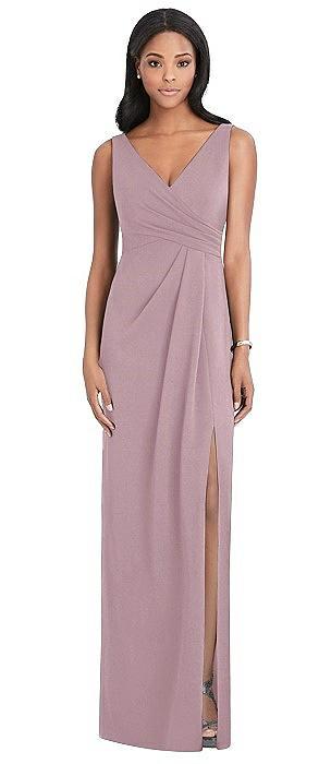 Draped Wrap Maxi Dress with Front Slit - Sena