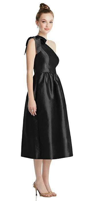 Bowed One-Shoulder Full Skirt Midi Dress with Pockets