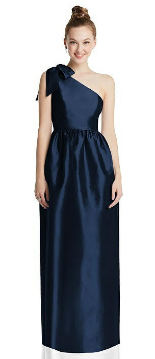 Bowed One-Shoulder Full Skirt Maxi Dress with Pockets