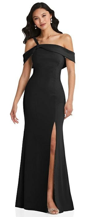One-Shoulder Draped Cuff Maxi Dress with Front Slit
