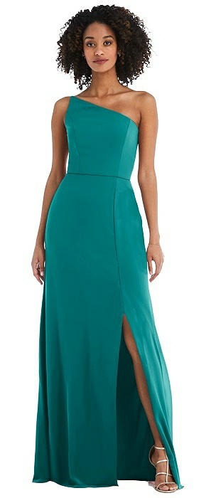 Skinny One-Shoulder Trumpet Gown with Front Slit