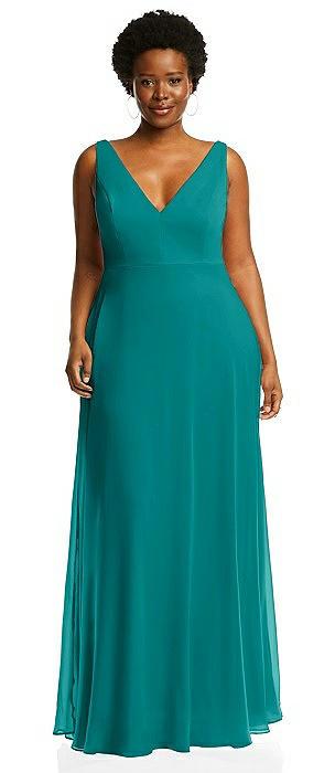 Deep V-Neck Chiffon Maxi Dress