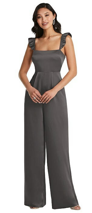 Ruffled Sleeve Tie-Back Jumpsuit with Pockets