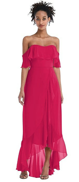 Off-the-Shoulder Ruffled High Low Maxi Dress