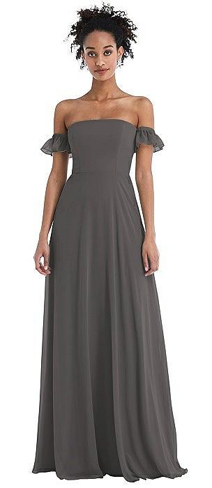 Off-the-Shoulder Ruffle Cuff Sleeve Chiffon Maxi Dress