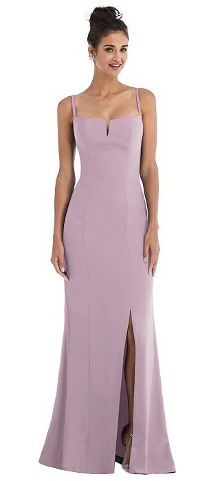 Notch Crepe Trumpet Gown with Front Slit