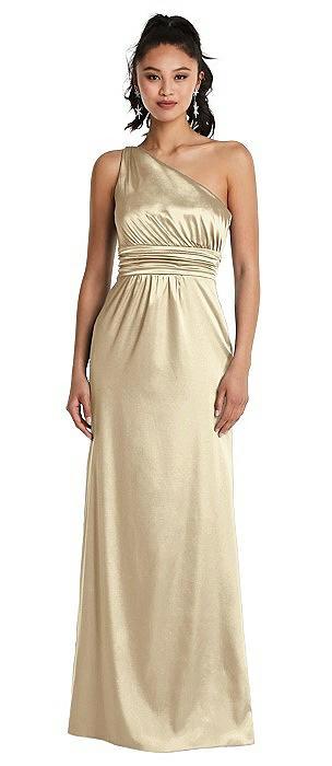 One-Shoulder Draped Satin Maxi Dress
