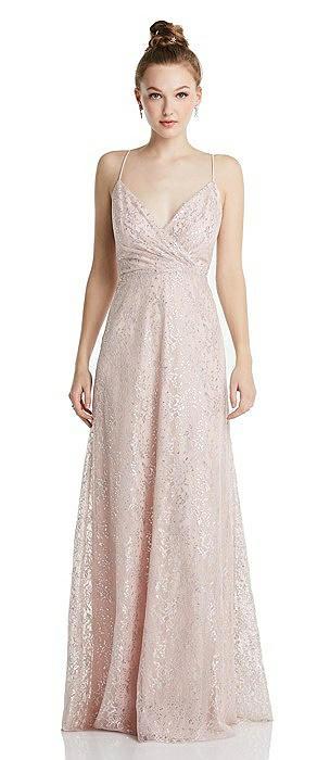 Draped Wrap Bodice Metallic Lace Maxi Dress