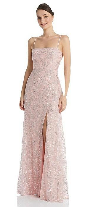 Metallic Lace Trumpet Dress with Adjustable Spaghetti Straps