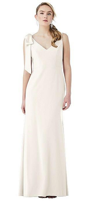 Bow-Shoulder V-Back Trumpet Gown