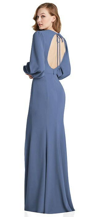 Long Puff Sleeve Maxi Dress with Cutout Tie-Back