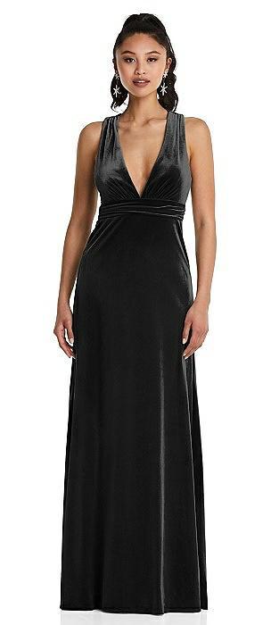 Plunging Neckline Velvet Maxi Dress with Criss Cross Open-Back