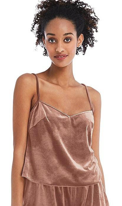Split Back Slim Strap Velvet Cami - Sari