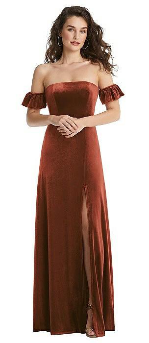Ruffle Sleeve Off-the-Shoulder Velvet Maxi Dress