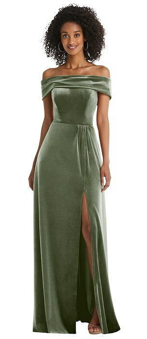 Draped Cuff Off-the-Shoulder Velvet Maxi Dress with Pockets