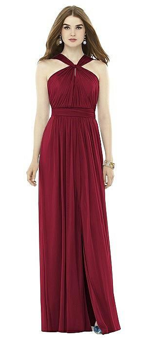 Twist Halter Low Illusion Back Maxi Dress