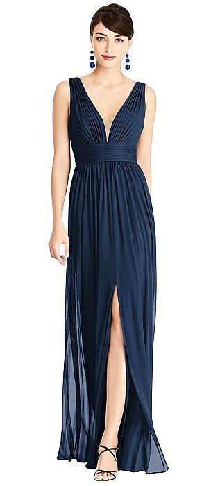 Illusion Plunge Neck Shirred Maxi Dress
