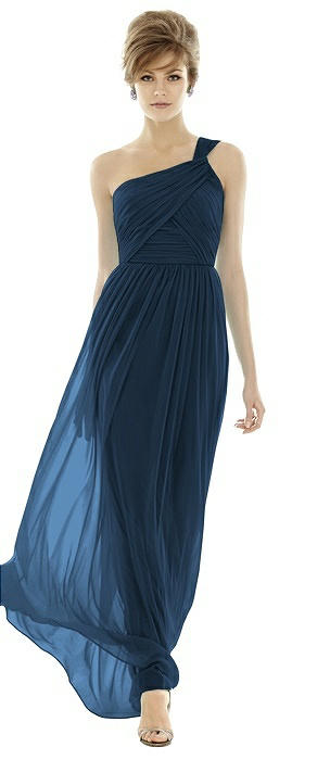 One-Shoulder Asymmetrical Draped Wrap Maxi Dress