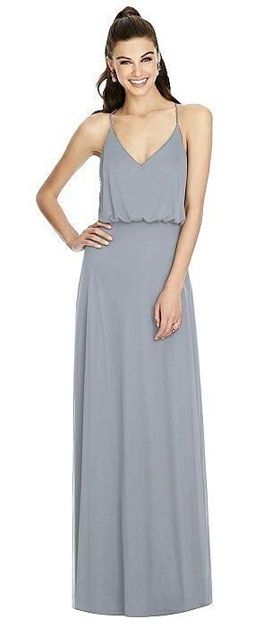 Inverted V-Back Blouson A-Line Maxi Dress