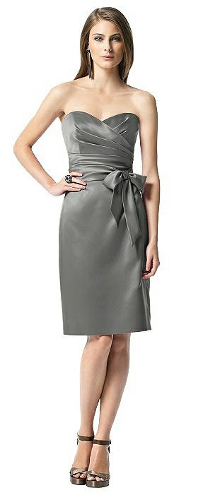 Strapless Bowed-Waist Satin Cocktail Dress