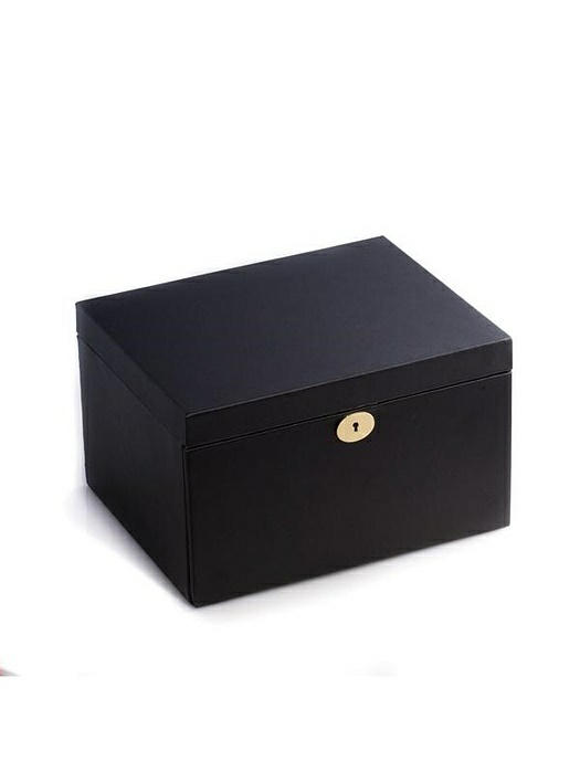 Black Leather 3 Level Jewelry & Watch Box with Soft Velour Lining