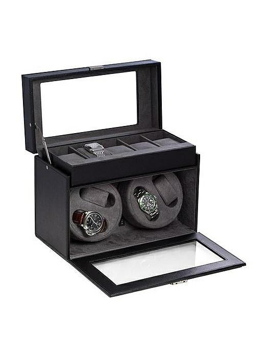 Black Leather 4-Watch Winder & 5-Watch Storage Case with Locking Clasp