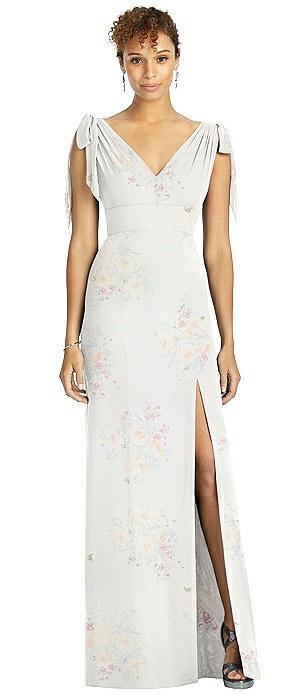 Bow-Shoulder Sleeveless Deep V-Back Mermaid Dress