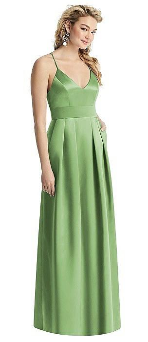 Pleated Skirt Satin Maxi Dress with Pockets