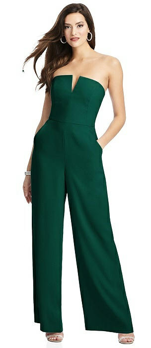 Strapless Notch Crepe Jumpsuit with Pockets