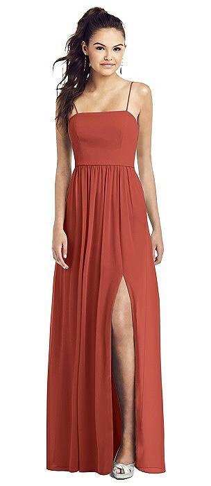 Slim Spaghetti Strap Chiffon Dress with Front Slit