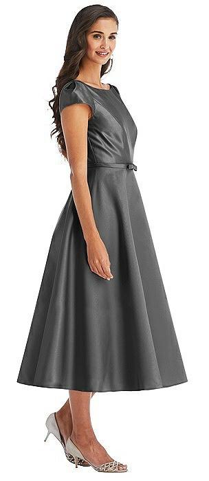 Puff Sleeve Bow-Waist Full Skirt Satin Midi Dress