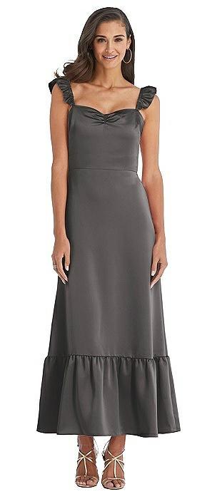 Ruffled Convertible Sleeve Midi Dress